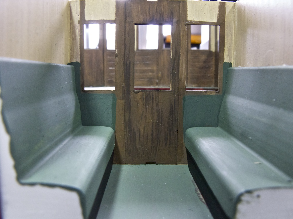 Close-up of a third class compartment.
