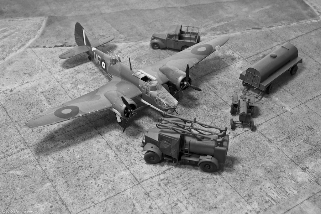 Bristol Blenheim MkIVF WR-L, No 248 Squadron Coastal Command, is prepared for another patrol over the North Sea, some time in 1940. Airfix 1/72nd scale kits for the aircraft, oil bowser and Standard Tilly pickup; Flightpath Fordson tractor; Matador Models Albion AM463 refueller.