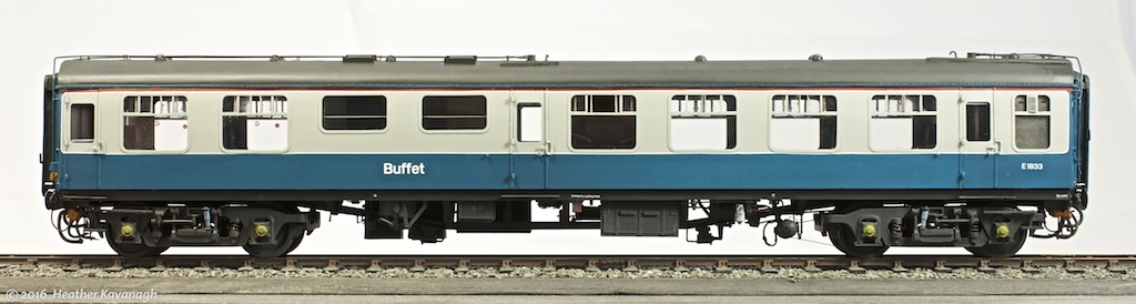 A 1/43rd scale MMP kit, built with modifications to include electric train heating and air braking equipment.